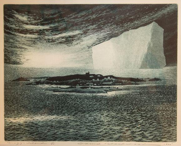 David Blackwood etching, Bragg's Island, 1975, 11 X 14 inches