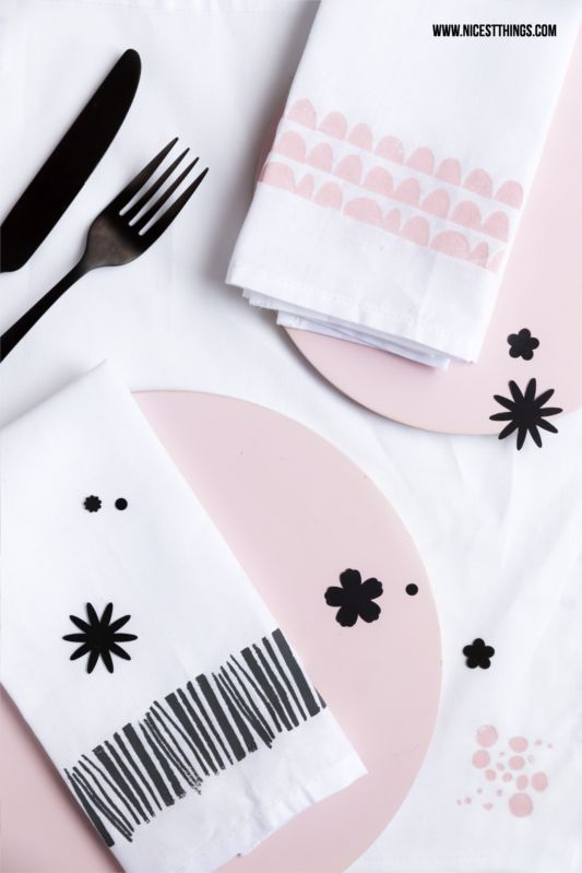 DIY Painted and Stamped Napkins Tutorial