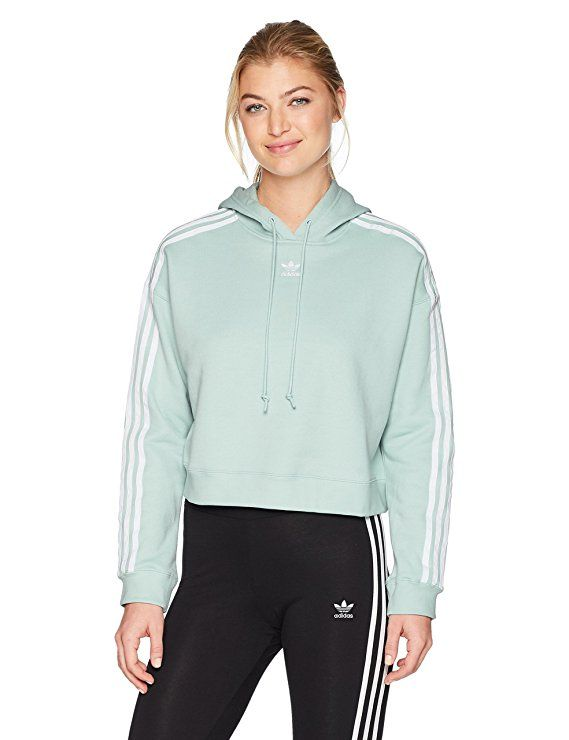 Adidas Originals Women S Cropped Hoodie Ash Green Sample S Cropped Hoodie Adidas Originals Women Hoodie Fashion