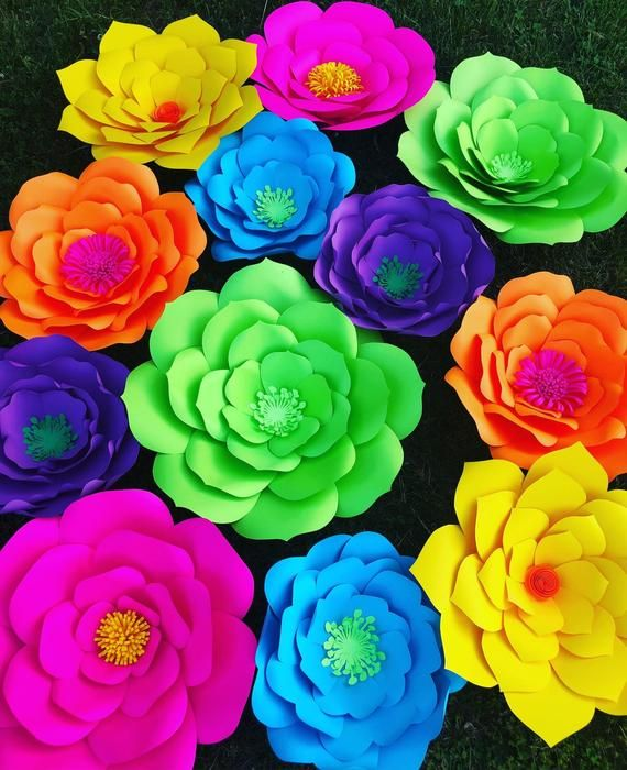 Set of 12 assorted extra large paper flowers for backdrops wedding decorations, diy flower wall, pho