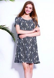 Plus Size Printed Short Sleeve Dress