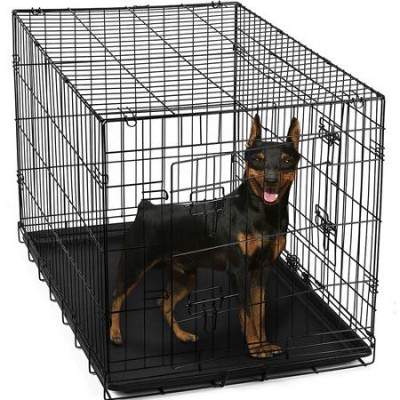 OxGord 24 inch Heavy Duty Foldable Double Door Dog Crate with Divider and Removable ABS Plastic Tray, 24 inch x 17 inch x 19 inch, Black