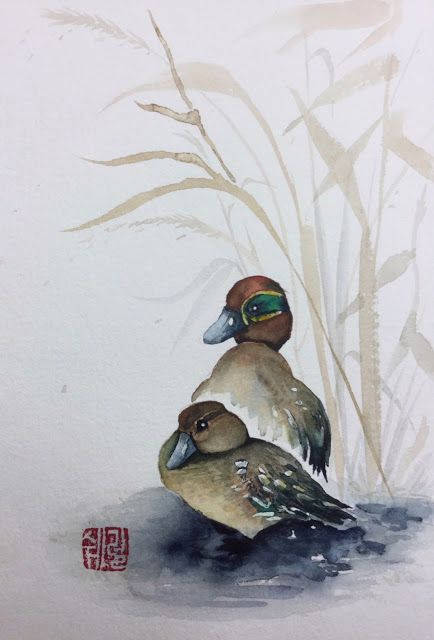Green-winged Teals - watercolor