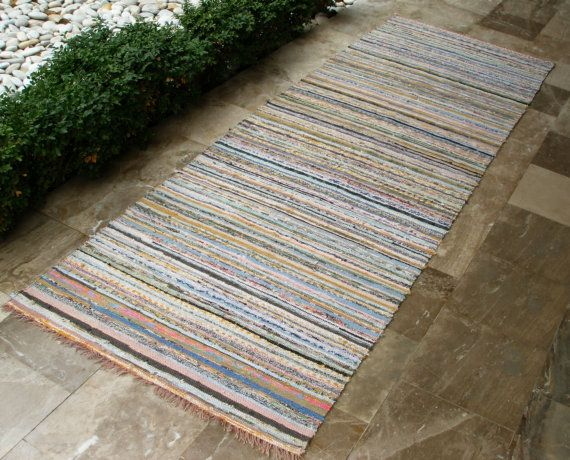 Bright Details.... Vintage Rag Rug Extra long  Blues Yellows Pinks Greens by VintageHomeStories,