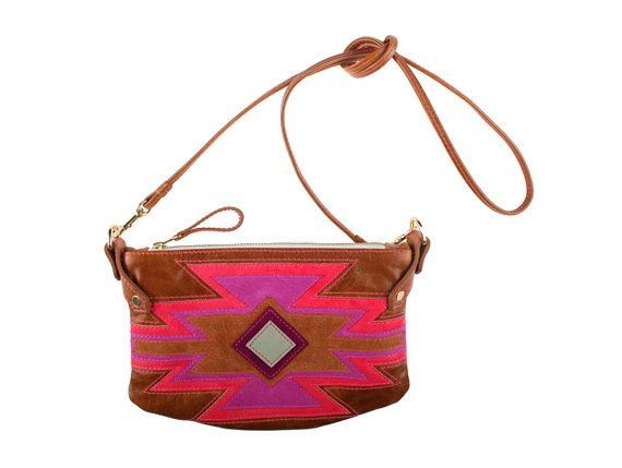Aztec Cha Ching bag in tan leather with aztec by missibaba