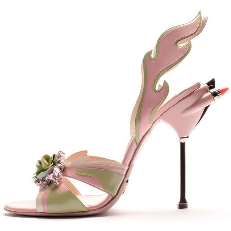 Prada    Patent Leather Heels with Flame and Floral Detailing available at Prada Bal Harbour