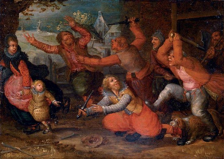 Part of the Art Collection of Prince Władysław IV Vasa (9 Jun 1595-20 May 1648) Poland. Painting of Peasants driving out a rich family from a house by David Vinckboons in 1624.