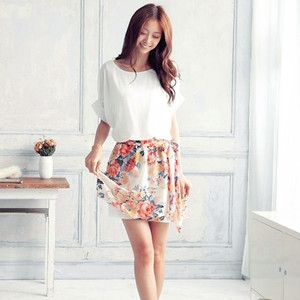 Robes et jupes > Robe bicolore fleurie - Mode Asiatique Kawaii | Mikatani…