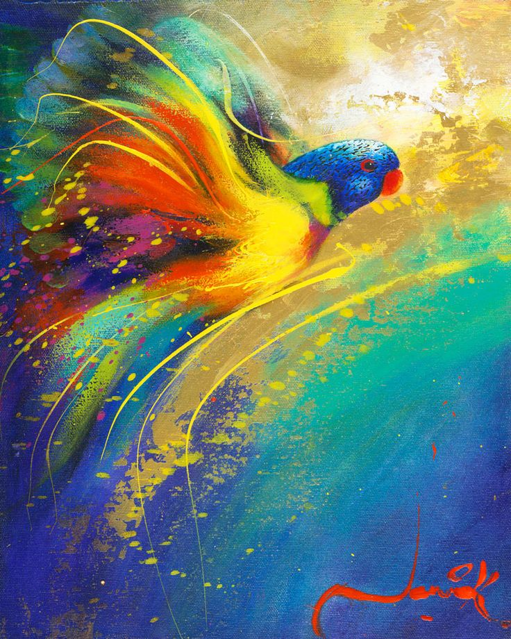 """Rainbow Flight D"" by Jenni Kelly, available now as a fine art reproduction at http://www.artreproductions.com.au/gallery.php?artid=1866"