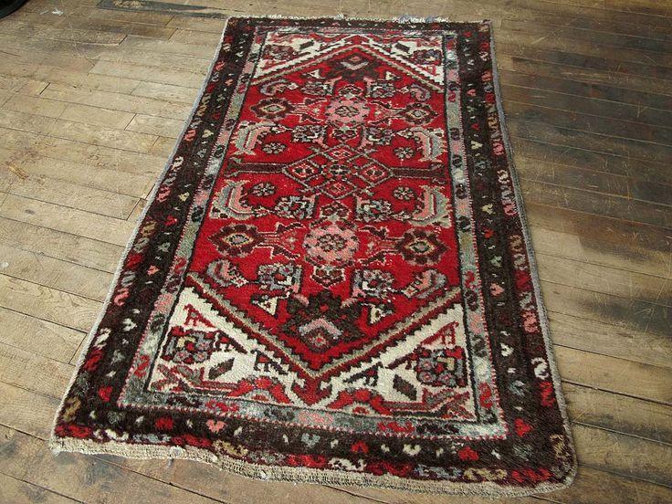 persian rug red rug 2x2 wool rug boho rug small area rug hand knotted