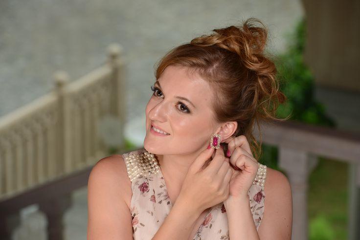 #Ruby cabochon earrings