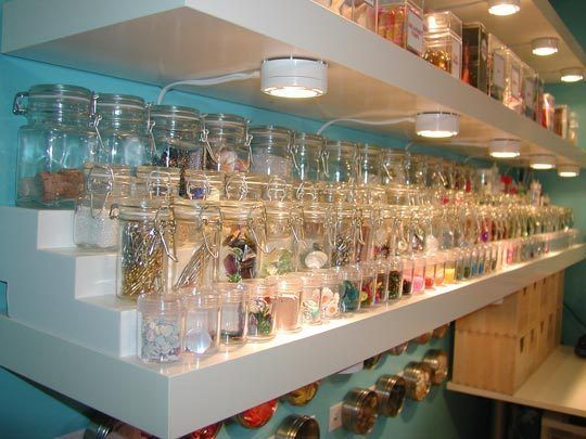 awesome embellishment storage jars! Looks stunning!: Sewing Room, Organization, Room Ideas, Storage Ideas, Craft Storage, Craft Rooms, Crafts