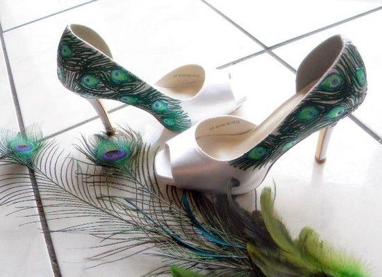Peacock Wedding Shoes by Nora Karen