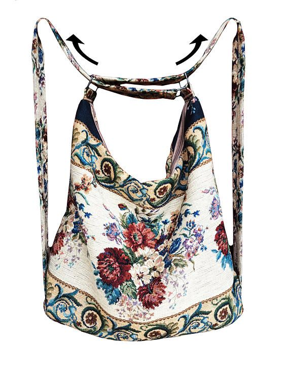 Photo of Convertible purse backpack tapestry shoulder hobo purse travel urban woman backpack eco vegan hipster fabric backpack