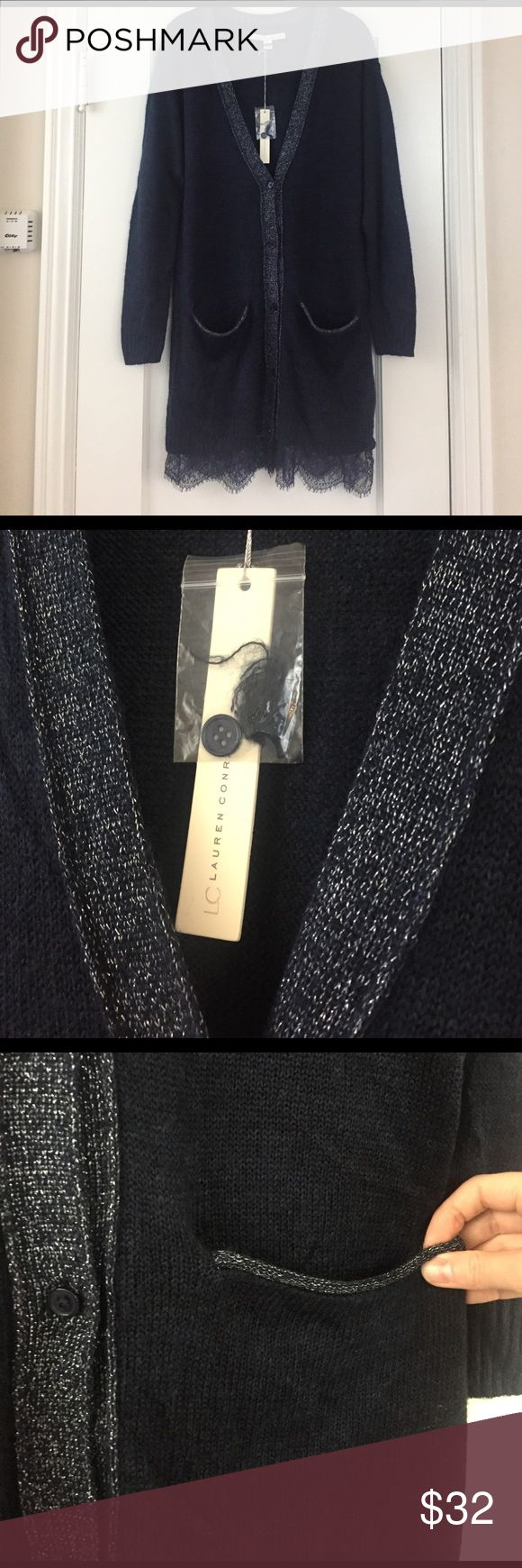 """LC Lauren Conrad navy blue cardigan sweater lace LC Lauren Conrad cardigan sweater. Long sweater, coat length. Buttons up front, metallic fibers in trim, lace at bottom hem. Pockets!!!! Sweater is thin, wonderful for layering. Soft, 67% acrylic, 31% nylon, 2% """"other"""" which I'm assuming is the metallic fiber. Lace is 100% nylon.  Smoke free and pet free home, new with tags. Size medium, loose fit. LC Lauren Conrad Sweaters Cardigans"""