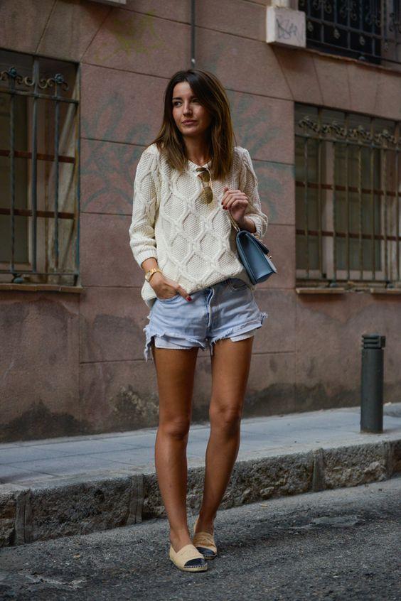 Sweater + Shorts - Alexandra wearing: Buylevard Sweater, Levi's Vintage Shorts, Chanel Espadrilles and Valentino Bag.
