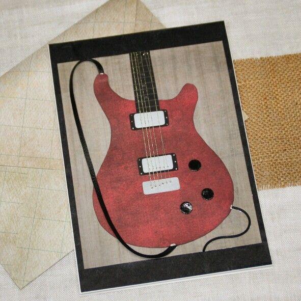 Tarjeta de felicitación. Réplica de guitarra eléctrica PRS. Belore Crafts.