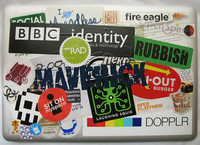 Laptop stickers. Laptops are expensive but very mobile and usefull...