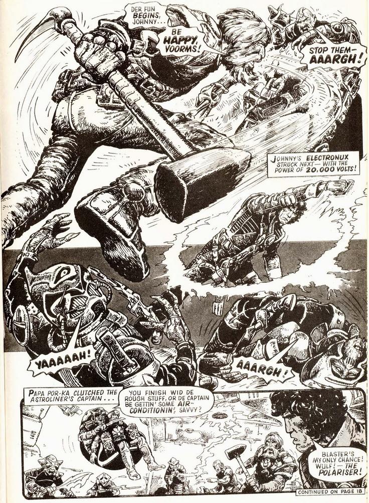 Strontium Dog art by Carlos Ezquerra. Mutant bounty hunter Johnny Alpha and viking sidekick Wulf Sternhammer. Instant classic. 2000ad