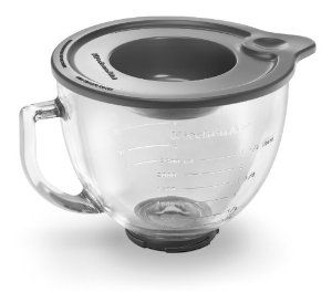 KitchenAid Stand Mixer glass bowl attachment - microwave and freezer safe with a tight sealing lid.