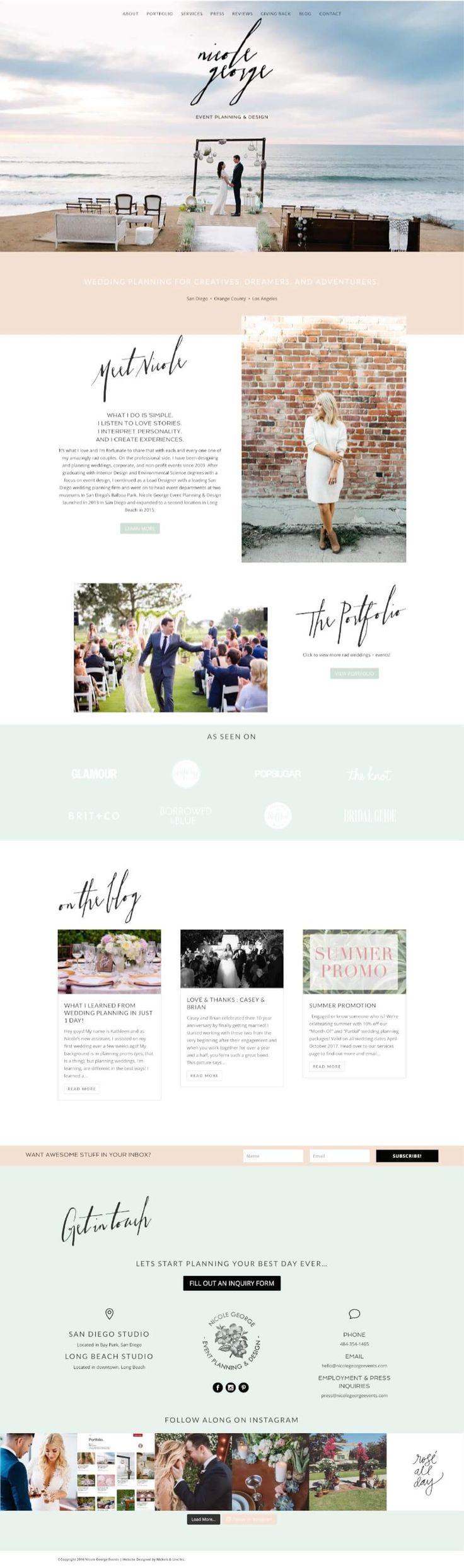 wedding planner website design.  Nicole George Events.  Designed by Nickels & Linc Inc.
