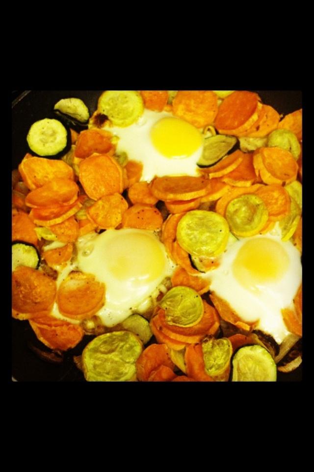 Healthy hash! Sweet potatoes, zucchini, yellow squash, onions, garlic ...