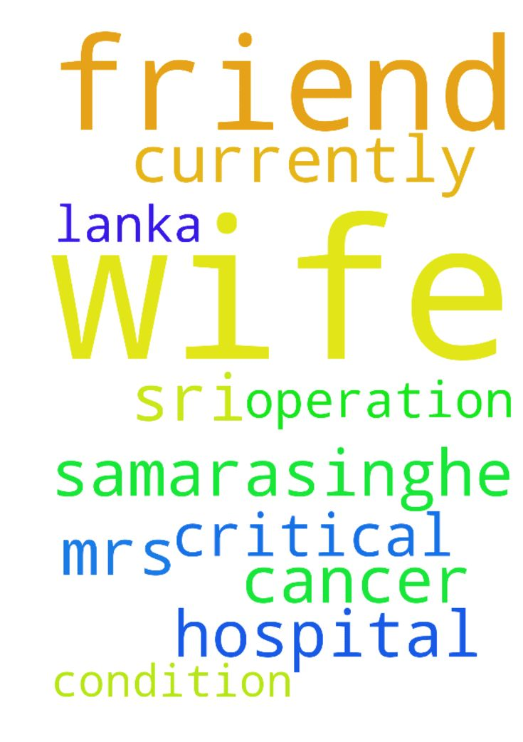 I need prayer for my friend wife - I need prayer for my friend wife currently in Sri Lanka cancer hospital after the operation she is in a critical condition, her name is, Mrs. Samarasinghe. Posted at: https://prayerrequest.com/t/EE9 #pray #prayer #request #prayerrequest