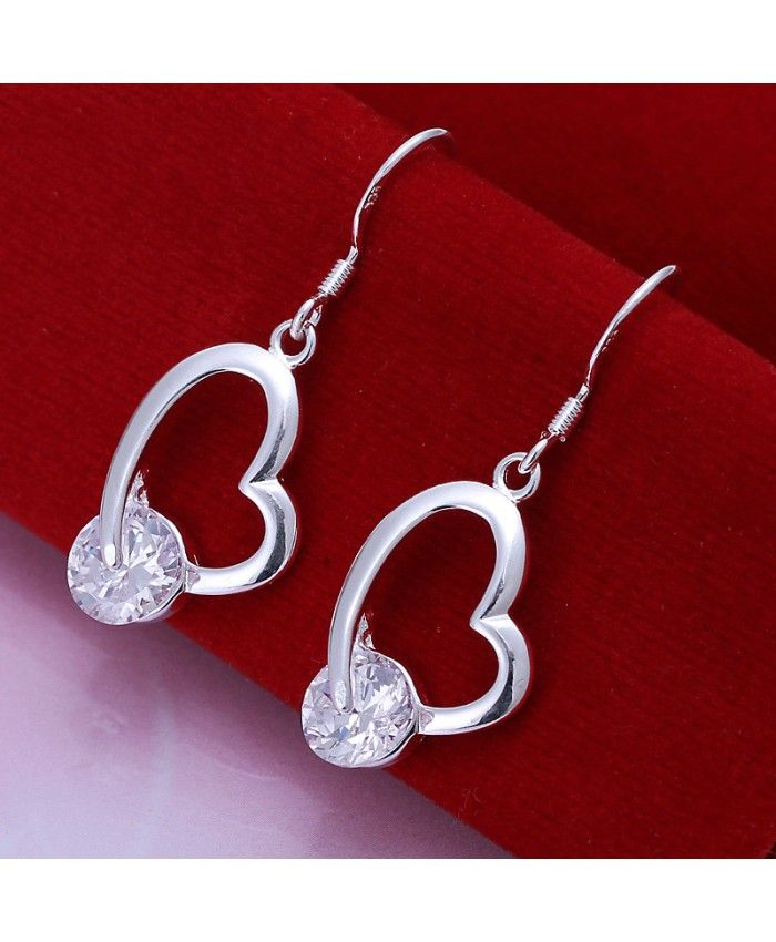 DIY Earrings Exquisite CZ Crooked Heart Earrings Silver