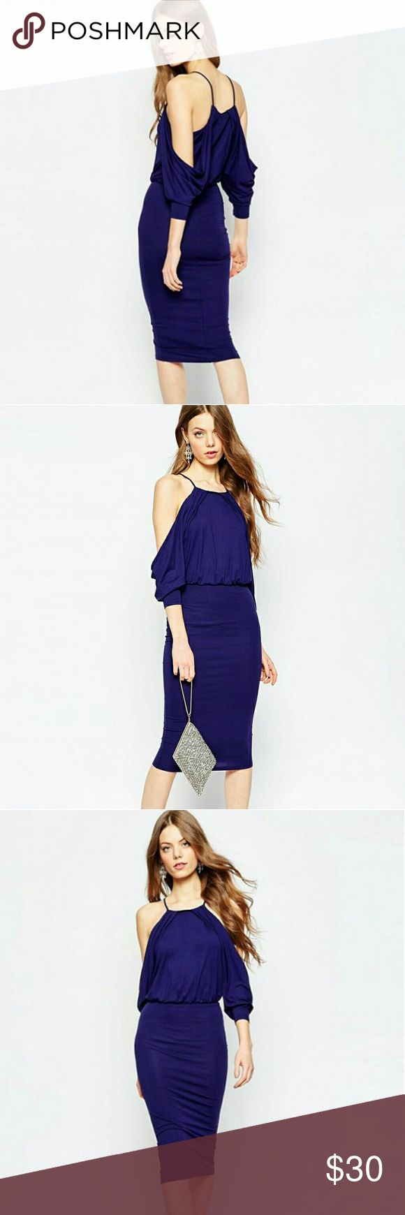 ASOS cold shoulder midi dress This is a Asos cold shoulder bodycon midi dress it is Navy Blue 95%polyester 5%elastane very sexy dress just in time for the great weather at don't pass this one up ladies bundle two items and receive a discount Asos  Dresses