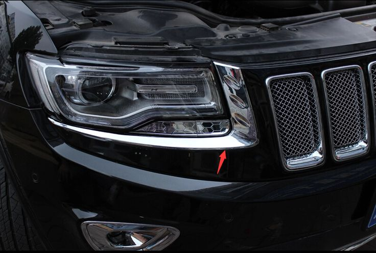 For Jeep Grand Cherokee 2014 2015 2016 Chrome Front Headlight Lamp Eyelid Cover Trim 2 Pcs / Set