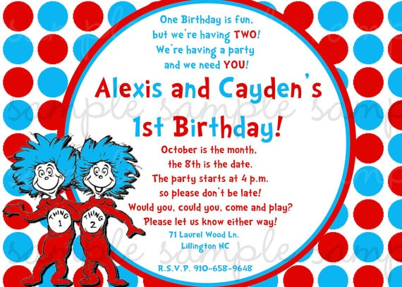 87 best thing 1 & thing 2 images on pinterest | birthday party, Birthday invitations