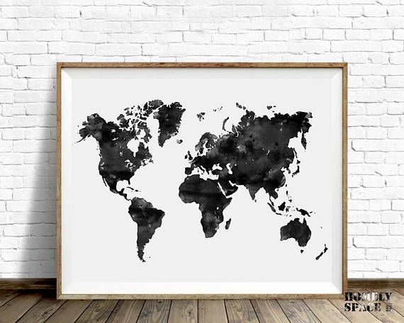 World map poster black watercolor world map art push pin map home world map poster black watercolor world map art push pin map of the world travel map large world map print printable world map download gumiabroncs Images