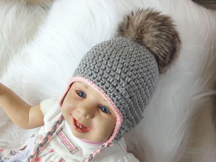 Gray Baby girl hat with fur Pom pom - Baby earflap hat - Crochet baby hat - Newborn girl hat - Faux fur pompom - Baby winter hat - baby gift by HandmadebyInese on Etsy