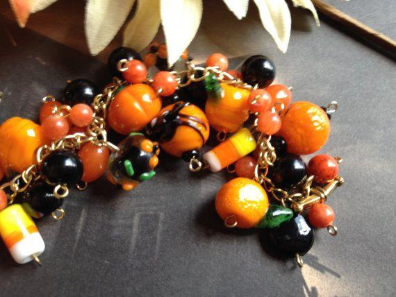 HAPPY HOLLOWEEN Halloween Bracelet Pumpkins by SundanceMountains