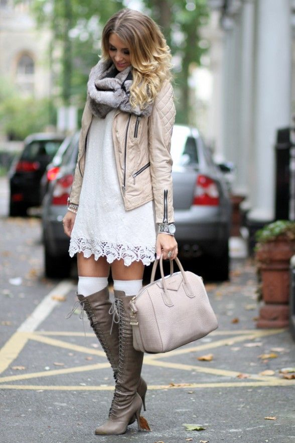 Short dress with boots, boot socks, scarf moto jacket. find more women fashion ideas on www.misspool.com