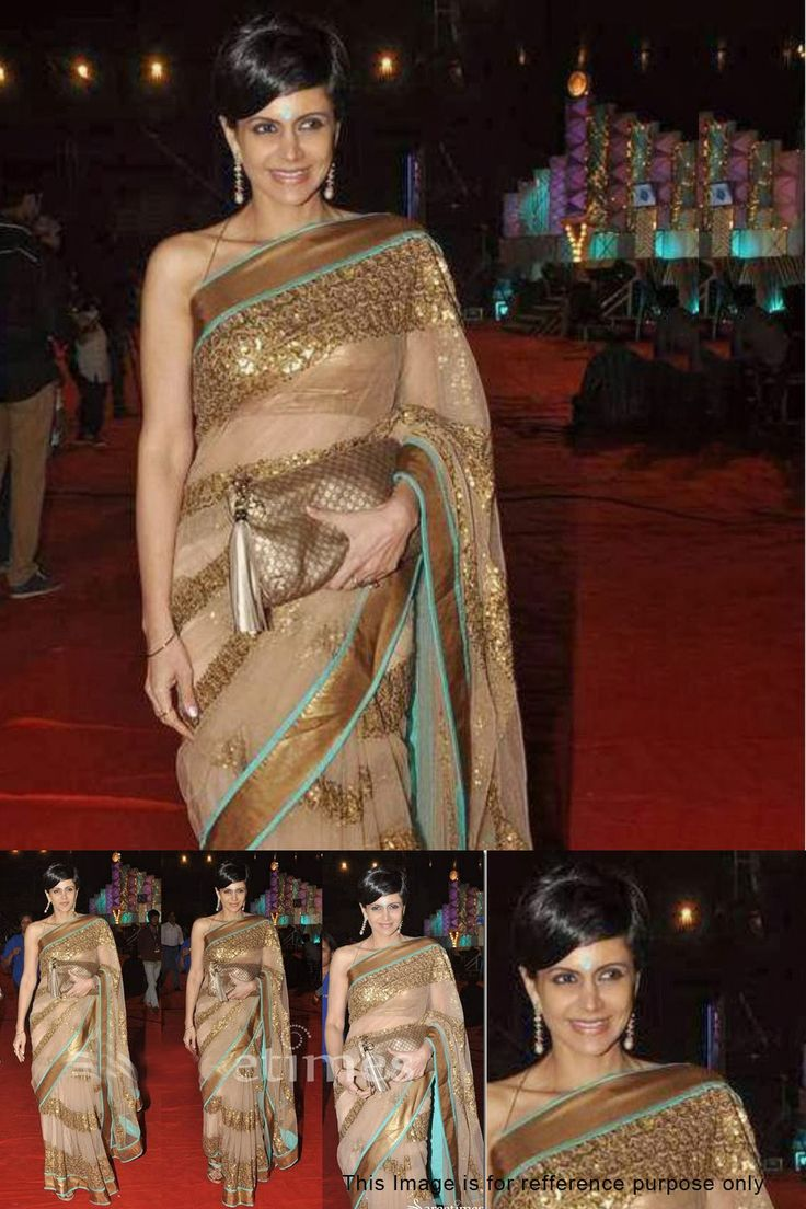 Buy Mandira Bedi Golden Color Net Bollywood Replica Saree Online at Best Price in India.