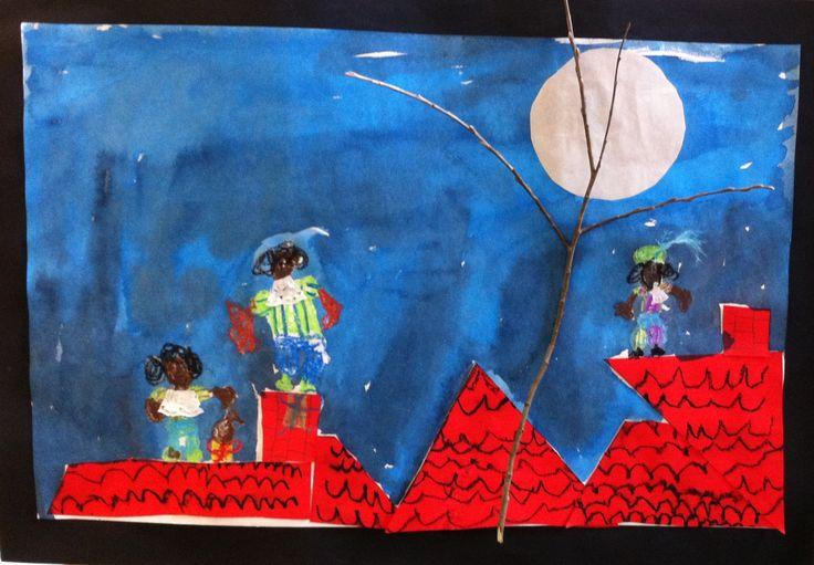 Knutselwerk 2014: zie de maan schijnt door de bomen. Met papier, oliepastel, ecoline, sitspapier, veertjes en taartpapier en een takje.