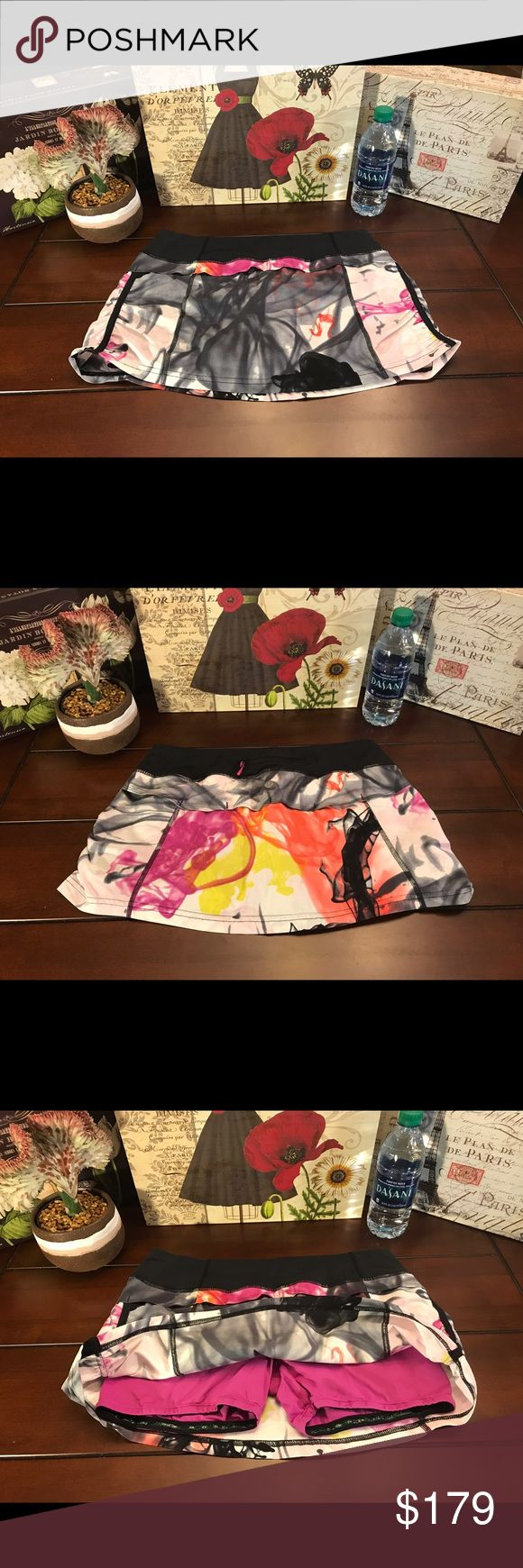 Lululemon Jog Skirt-Unicorn Tears, Size 6 Lululemon Jog Skirt-Unicorn Tears, Size 6  I do not trade.   Lulu Jog skirt in the very rare and awesome multi-color Unicorn Tears print. This skirt is both cute and practical with shorts underneath and multiple pockets (two hidden interior, one zipper pocket in back). There is also ruching on the sides. Fabulous condition! ☺️  Length-11.5 inches   Waist- 29 inches (14.5 inches across) lululemon athletica Skirts
