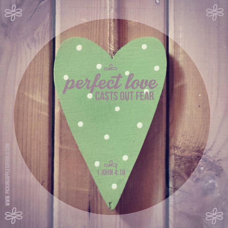 Perfect Love casts Out Fear // 1 John 4:18  //  See more on my blog: www.pickingapplesofgold.com
