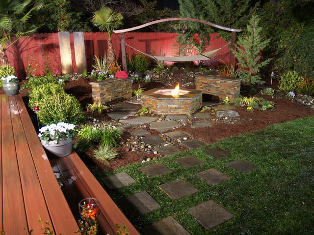 I like the rock path: Fire Pits, Backyard Ideas, Outdoor Living, Yard Crashers, Firepits, Outdoor Fireplaces, Outdoor Spaces, Diy Network
