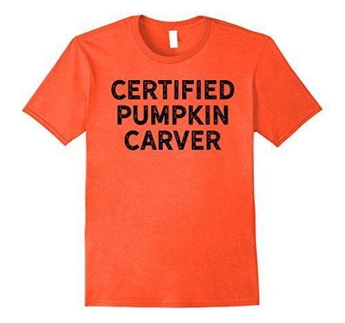 Mens Certified Pumpkin Carver Shirt for Halloween Black 2...