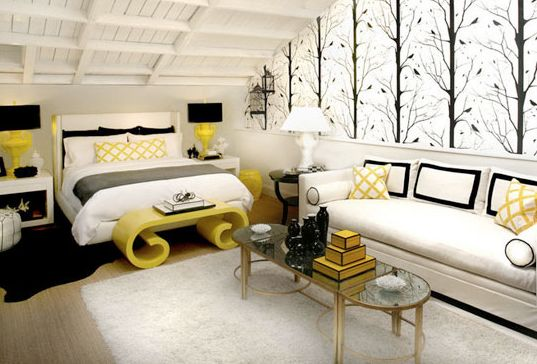 This Black White And Yellow Bedroom Is Using The Color Scheme Of Accented Netural Are Two Dominant Colors Room