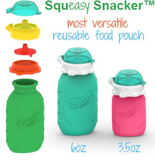 Reusable food pouch Squeasy Snacker. Great for homemade baby food! Baby food pouch! Kid pouch! Great for healthy lunches! Easy feeding on the go. No spill, No mess.