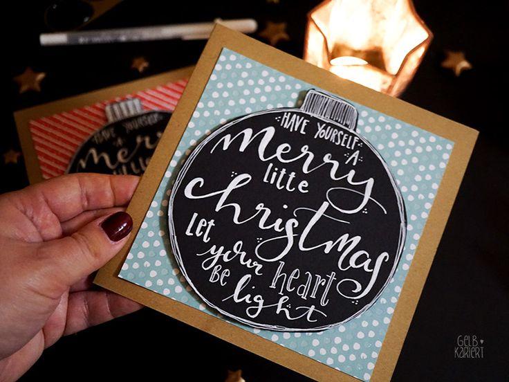 Handlettering Weihnachtskarten basteln – Gelbkariert