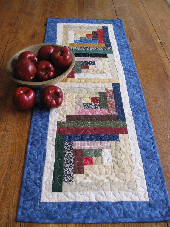 Patchwork Log Cabin Table Runner by Quiltedhearts5 on Etsy, $35.00
