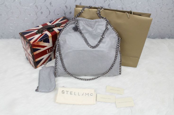 stella mccartney 'foldover falabella' grey tote bag