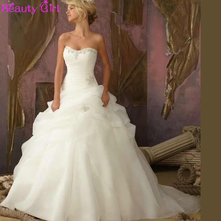 New vestido de novia Fast Shipping Ball Gown Strapless Beaded Ruched Organza Skirt Corset Bodice Cheap Wedding