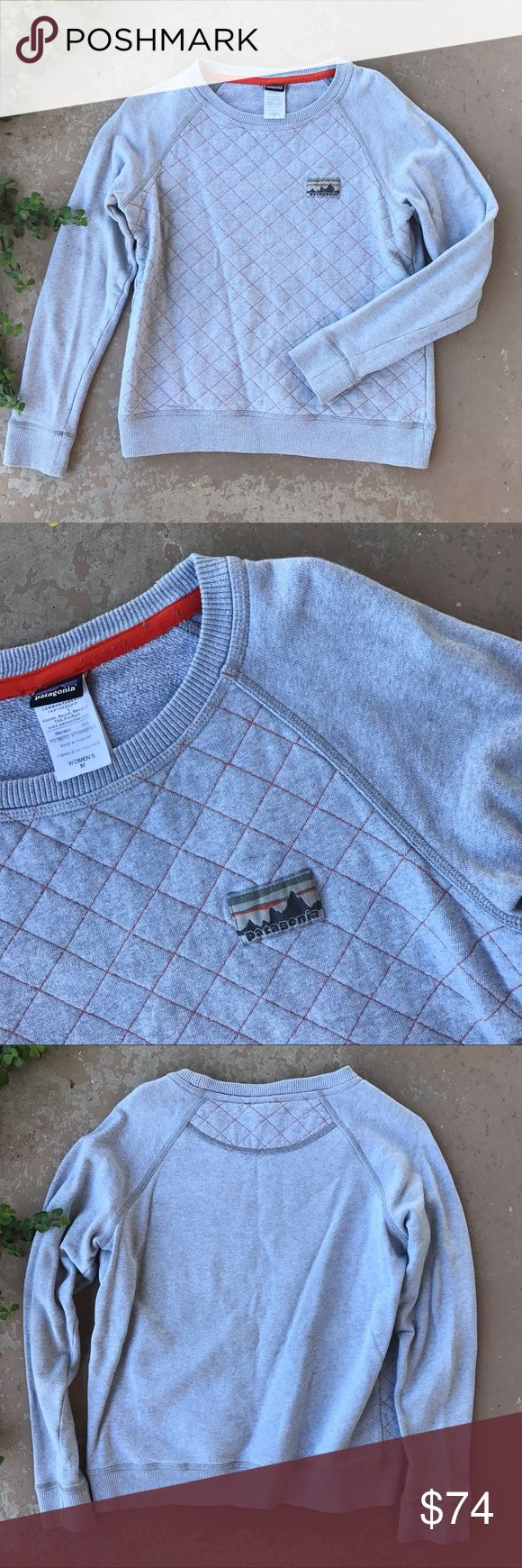 Patagonia Crew Quilted Gray Pullover Sweater Patagonia gray quilted pullover with orange contrast threading. In excellent condition. Size medium. 50 cotton/50 organic cotton. Patagonia Sweaters Crew & Scoop Necks