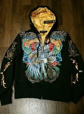 NEW WITH TAGS Christian Audigier los angeles Rhine Foil Hoodie / Phoenix Blade S