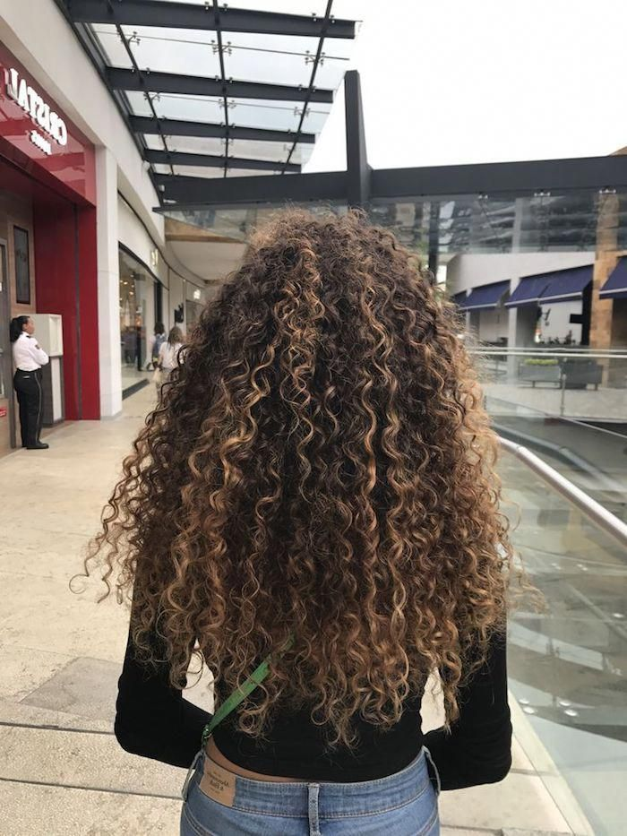 Highlights In Light Blonde On Brunette Hair Long Curly Hairstyles Seen From The Back Girl In 2020 Curly Hair Styles Colored Curly Hair Curly Hair Styles Naturally